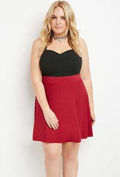 Plus Size Heathered Sweater Skater Skirt | Forever 21 PLUS - 2000141823