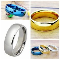 6mm Stainless Steel Ring Men/Women's Wedding Band Silver Gold Blue Size 5-14…
