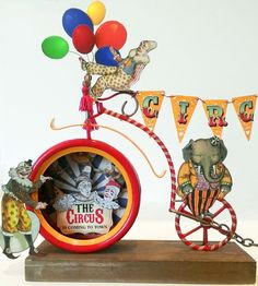 The circus is coming to town, led in by a parade by the clowns. In my version of a circus, it's not the people who are in charge but th. Circus Crafts, Circus Art, Circus Theme, The Circus, Vintage Circus, Vintage Toys, Steampunk Circus, Diy Crafts Vintage, Paper Art