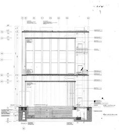 Topography of Terror, International Exhibition and Documentation center, Berlin, Germany. Peter Zumthor, Architecture Drawings, Architecture Details, Arch Building, Section Drawing, Home Modern, Working Drawing, Architectural Section, Construction Design