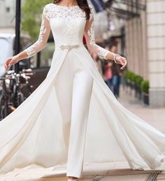 Long Plus Size Wedding Dresses Off White Dress Lalamira White Qipao Orange Wedding Guest Dresses, Bohemian Wedding Dresses, Bohemian Gown, Two Piece Jumpsuit, Lace Jumpsuit, White Jumpsuit, Jumpsuit Outfit, White Romper, Bridal Gowns