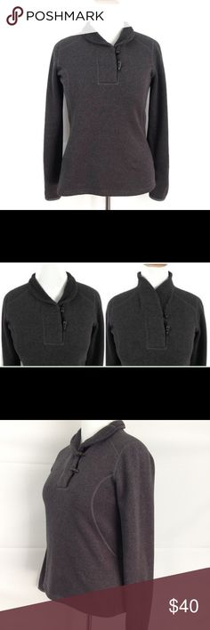 """THE NORTH FACE Toggle Sweater Pullover Top Sz L The North FaceWomen's Pullover Sweater Jacket Size: Large Color: Brown (kind of charcoal grayish brown) Sleeve Length: Long Shawl Collar with Toggle Button Closure Material: 100% Polyester Pre-owned, good used condition. No rips, tears, or stains.  Please see images for a visual description. Measurements: Armpit to armpit: 20"""" Sleeve: 25"""" Length: 26""""  This and all of my listings are stored in a smoke-free environment. Please contact me…"""
