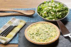 Sugar Snap Pea & Farmer's Cheese Quiche with Arugula, Feta & Cucumber Salad