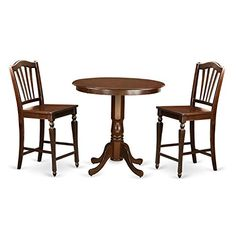 East West Furniture JACH3MAHW 3 Piece Pub Table and 2 Counter Height Dining Chair Set * To view further for this item, visit the image link.-It is an affiliate link to Amazon. #DiningSets