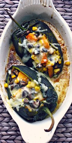 Black Bean, Butternut Squash and Millet Stuffed Poblano Peppers with Ancho-Guajillo Chile Sauce. #vegetarian