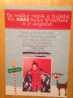 Baby girl's North Pole Birthday Party Invites made by Jumping Jax Designs!