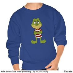 Kids' Sweatshirt  with green frog cartoon