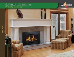 """Our latest Direct Vent Gas Insert DVI 750 is designed to fit wood burning fireplaces with minimum 27"""" (W) x 22.5"""" (H) x 14"""" (D)  opening. Made of heavy steel it features ceramic glass, safety screen, hand made ceramic log set, amber material, Available both with electronic ignition and standing pilot system for Natural Gas or Propane. We ship all over North America! Designer's and Dealer's discounts available. Fireplace Showroom, Custom Fireplace, Biofuel Fireplace, Gas Insert, Gas Fireplaces, Fireplace Inserts, Fireplace Accessories, Electric Fireplace, Wood Bridge"""
