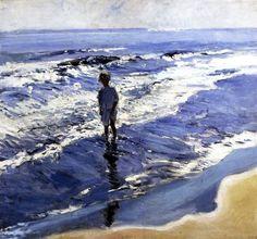 You can just FEEL the sun shining down. Young Girl in a Silvery Sea-Joaquin Sorolla y Bastida - 1909