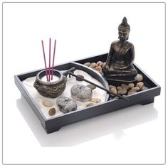 Zen-Garden-FengShui-Meditating-Buddha-Large-Sand-Rake-Rock-Incense-Sticks-Candle