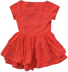 Morley - orange red dress - Orange red dress with short sleeves and buttons on both shoulders. Wide two layer skirt. Baby Girl Fashion, Kids Fashion, Cool Girl Style, Little Fashionista, Stylish Kids, Orange Red, Kids Wear, Bodice, Girl Outfits