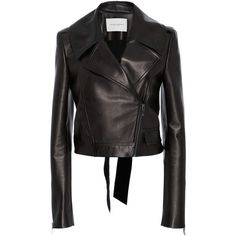 Philosophy di Lorenzo Serafini Leather Moto Jacket ($3,790) ❤ liked on Polyvore featuring outerwear, jackets, black, leather jackets, leather moto jackets, carolina herrera, long sleeve jacket and real leather jackets