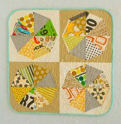 Mid-century Mini Pieces Quilt by Malka Dubrawsky Antique Quilts, Vintage Quilts, Scrappy Quilts, Mini Quilts, Kaleidoscope Quilt, Pinwheel Quilt, Quilt Material, Patchwork Pillow, Miniature Quilts