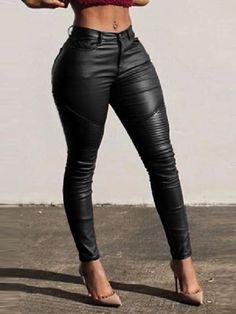High Waist PU Fitting Leggings Pants Leather Trousers, Leather Leggings, Pu Leather, Black Leather Pants, Trousers Women, Women's Trousers, Vegan Leather, Trend Fashion, Fashion Pants