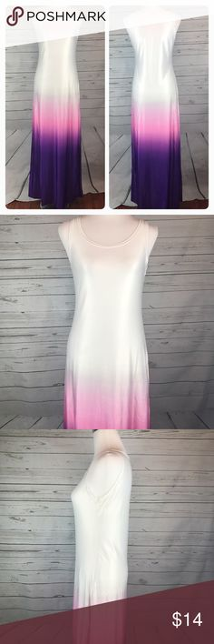 "Yili Ya Maxi dress dip tie dye white purple pink Yili Ya Women's Medium Maxi dress. Color blocked dip dye in white, pink, and deep purple. Sleeveless tank style top. Stretch Satin. Gently used, no flaws.   Measurements while lying flat Armpit to armpit: 17"" Waist: 15"" Length: 60.5""  C36 Yili Ya Dresses Maxi"
