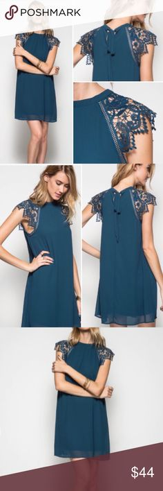 COMING SOON  Fall Teal Lace Cap Sleeve Dress This dress SCREAMS fall!! How beautiful is this, and in the most perfect color! The lace sleeves are so eye catching, and the bow back, now who doesn't love bows??  Sizes S 2-4, M 6-8, L 10-12. Model is 5'11 for reference. Dresses Mini