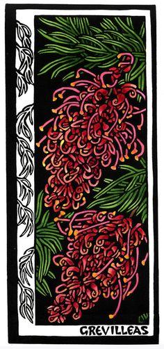 Grevillea - Linocut (hand coloured) by Lynette Weir