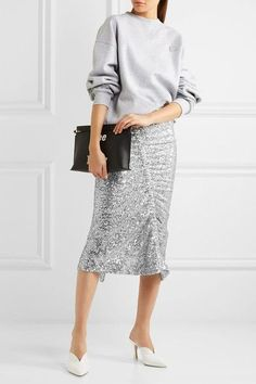 Preen by Thornton Bregazzi - Gemma Ruched Sequined Stretch-jersey Midi Skirt - Silver -