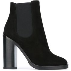 Dolce & Gabbana chunky heel ankle boots (7 745 SEK) ❤ liked on Polyvore featuring shoes, boots, ankle booties, black, leather ankle boots, black leather boots, black booties, leather booties and black leather ankle booties