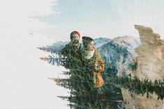 rocky mountain engagement, digital double exposure, w & e photographie