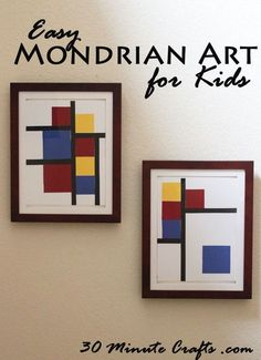 This Mondrian-Inspired art is so fun and simple for kids to make, with just a little bit of adult preparation!