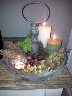 Herfst; kaarsenplateau met herfstdecoratie!