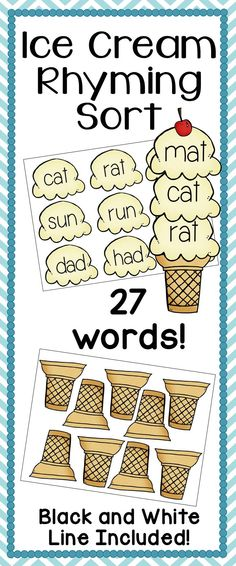 Ice Cream Rhyming Sort: Great center for an intro to rhyming or even as a review for older students. Sort sets of 3 CVC rhyming words onto ice cream cones. Simple, fun, and educational! Enjoy!
