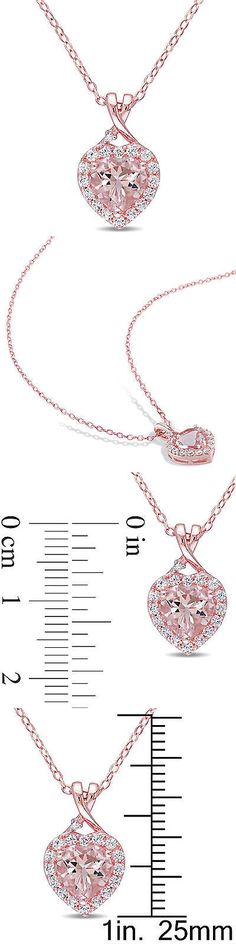Gemstone 164332: Rose Silver Morganite White Sapphire And Diamond Heart Halo Pendant Necklace 18 BUY IT NOW ONLY: $179.99