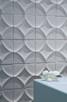It is strange to be in love with tile? ANN SACKS Abyssinian harlequin ceramic deco tile in 200 bright white matte