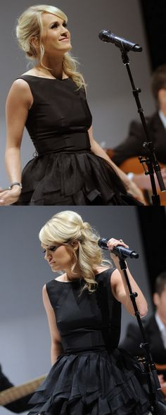Take a look at these fabulous long blonde hairstyles worn by the famous singer Carrie Underwood during 2012 that come in diverse styles such as; updos, etc.