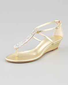 Strass T-Strap Wedge Sandal, Gold by Giuseppe Zanotti at Neiman Marcus.