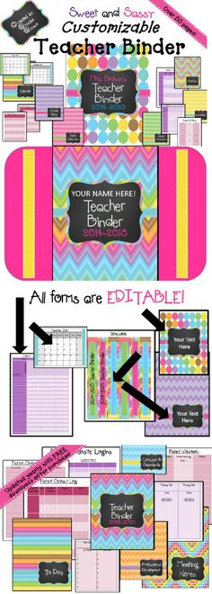 "Brand New fully CUSTOMIZABLE ""Sweet and Sassy"" Teacher Binder for 2014-2015!"