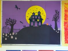 Halloween bulletin board idea: I like the purple night sky with the yellow moon and black hills in the forefront.