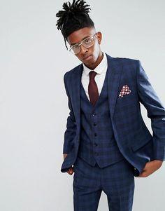 RUDIE | Rudie Blue Prince Of Wales Check Skinny Fit Suit Jacket