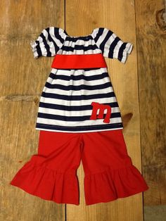 Girls Patriotic Outfit. Peasant Top & Ruffle by EverythingSorella, $59.50