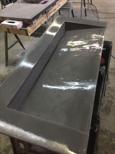 Concrete Slope Sink  Hyde Brewery Charlotte NC  (Grey) Solid Finish  CoRe Designs