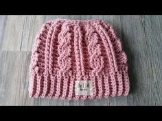 Crocheted Cabled Messy Bun Hat - YouTube