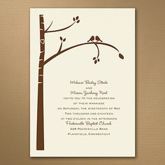Birch Tree Love - Invitation - Ecru Nature lovers love this invitation! The birch tree, carved heart and lovebirds are printed in your choice of color on this ecru wedding invitation to show your natural style. Ivory Wedding Invitations, Discount Wedding Invitations, Affordable Wedding Invitations, Inexpensive Wedding Venues, Unique Invitations, Wedding Stationary, Home Wedding, Fall Wedding, Rustic Wedding