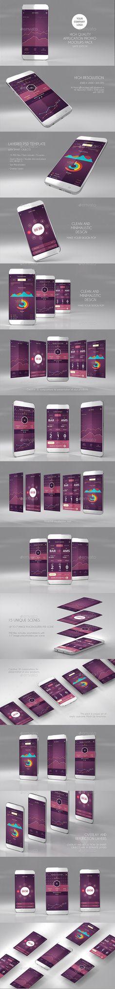 15 App Promo Mock Ups Pack (White Edition). Download here: https://graphicriver.net/item/15-app-promo-mock-ups-pack-white-edition/17568243?ref=ksioks