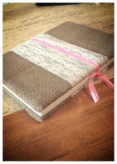 Burlap wrapped notebook with white lace and pink ribbon