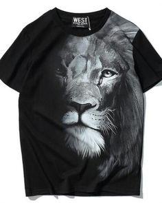 3D lion t shirt black animal face tee for men