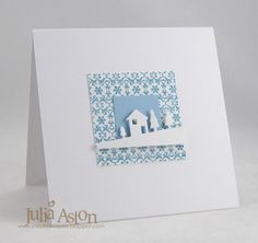 adorable handmade card ... solid blue inchie + bigger square frame in blue patterned paper ... lovely die cut ...