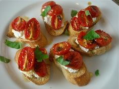 snack-y supper: slow roasted tomatoes on ricotta toast. (With balsamic instead of honey as shown.)