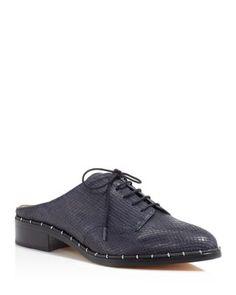 POUR LA VICTOIRE Felix Snakeskin Embossed Oxford Mules. #pourlavictoire #shoes #sandals