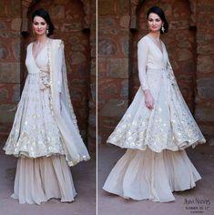 Sufi night outfit , sharara , White layered sharara , angrakha silhouette for eid Indian Wedding Guest Dress, Indian Wedding Outfits, Pakistani Outfits, Dress Wedding, Indian Outfits Modern, Sharara Designs, Indian Designer Outfits, Designer Dresses, Trajes Anarkali