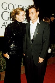 KATE MOSS  Years before she developed a penchant for British rockers, Kate Moss dated Johnny Depp, and a Hollywood power couple was born. During four-year relationship, the pair attended the 1997 Golden Globe Awards, and while the red carpet might have been awash with plunging evening gowns, Mossy was already exhibiting that inimitable style in a full-length black sequin gown, which Depp had made for her because she loved Julie Christie's similary style in the film Shampoo so much. (1995)