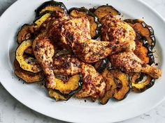 This Roasted Chicken and Acorn Squash with Sumac Brown Butter recipe gets its flavor from an overnight marinade in lemon zest and black pepper. Butter Squash Recipe, Butter Recipe, Wine Recipes, Cooking Recipes, Acorn Squash Recipes, Food & Wine Magazine, Roasted Chicken, Roasted Squash, Fried Chicken