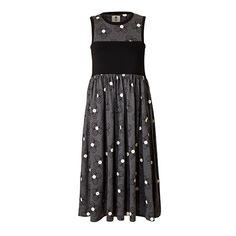 Orla Kiely   UK   clothing   SALE - Dresses   Linear Loop Flower Jersey Gathered Dress (16SJSJP745)   charcoal