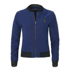 Front full-zip sweater with double weave finish on the collar and cuffs. Practical and comfy, ideal for the independent and active sportswoman. Cotton Jacket, Collar And Cuff, Zip Sweater, Ferrari, Weave, Cuffs, Women Wear, Vest, Sporty