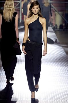 Lanvin 2013 runway ... Love the dimensions this look creates.  And are bodysuits going to come back???  The questions of the day!